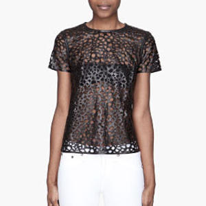 Laser-cut leather Leopard Top