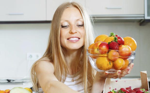 Paradies Diat Nur Rohes Obst Gemuse Woman At