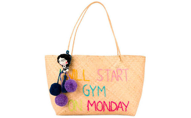 'I Will Start Gym On Monday' Handtasche aus Stroh
