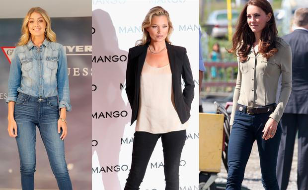 Gigi Hadid, Kate Moss und Kate Middleton in Skinny Jeans