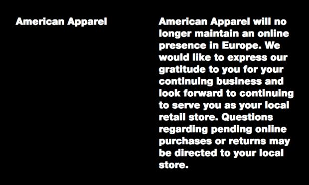 American Apparel in Europa
